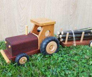 Tracteur en bois enfant